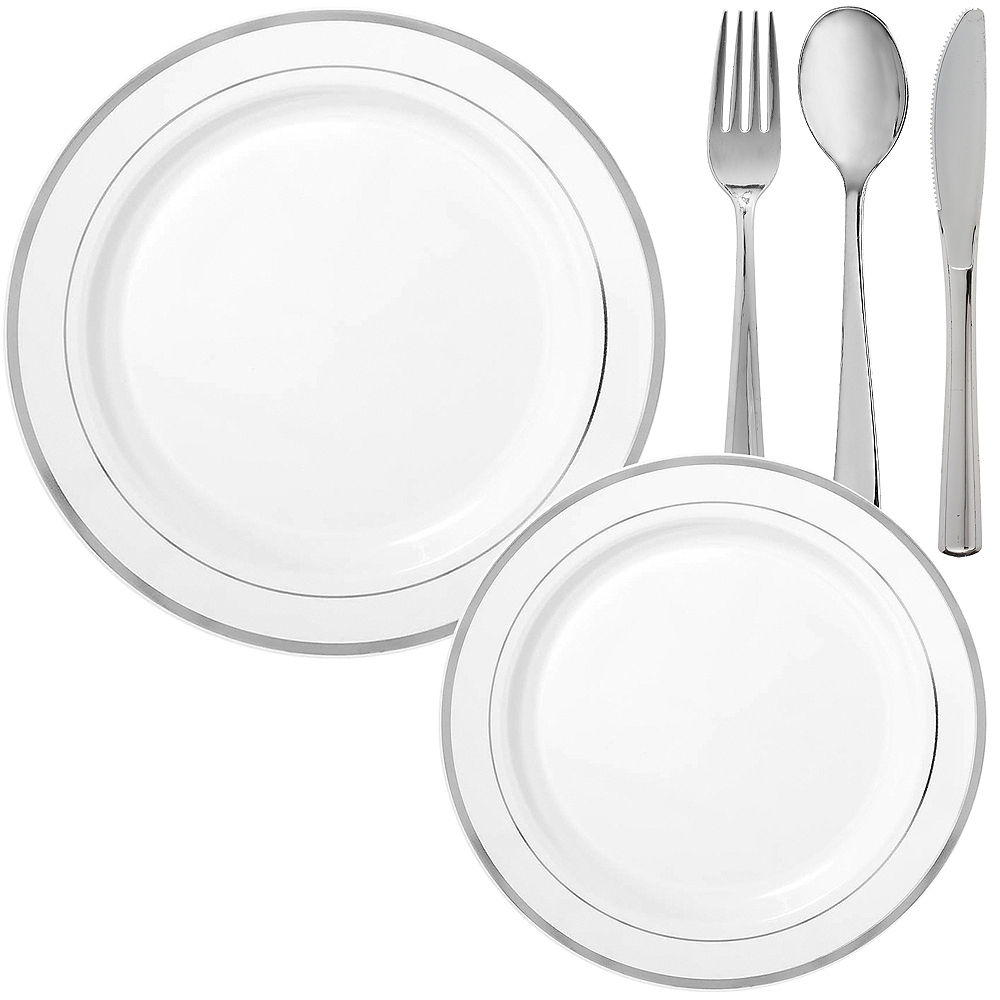 White Silver-Trimmed Premium Tableware Kit for 60 Guests Image #1
