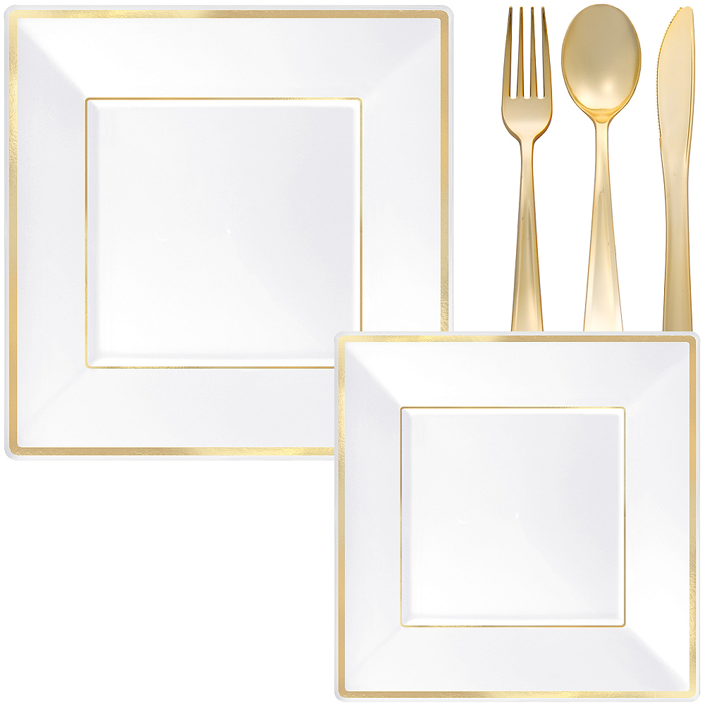 White & Gold Square Premium Tableware Kit for 32 Guests Image #1