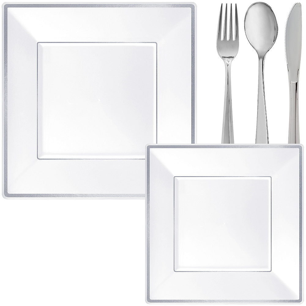 White & Silver Square Premium Tableware Kit for 32 Guests Image #1