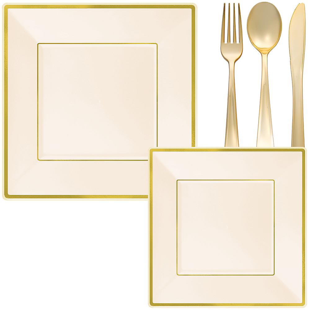 Cream & Gold Square Premium Tableware Kit for 32 Guests Image #1