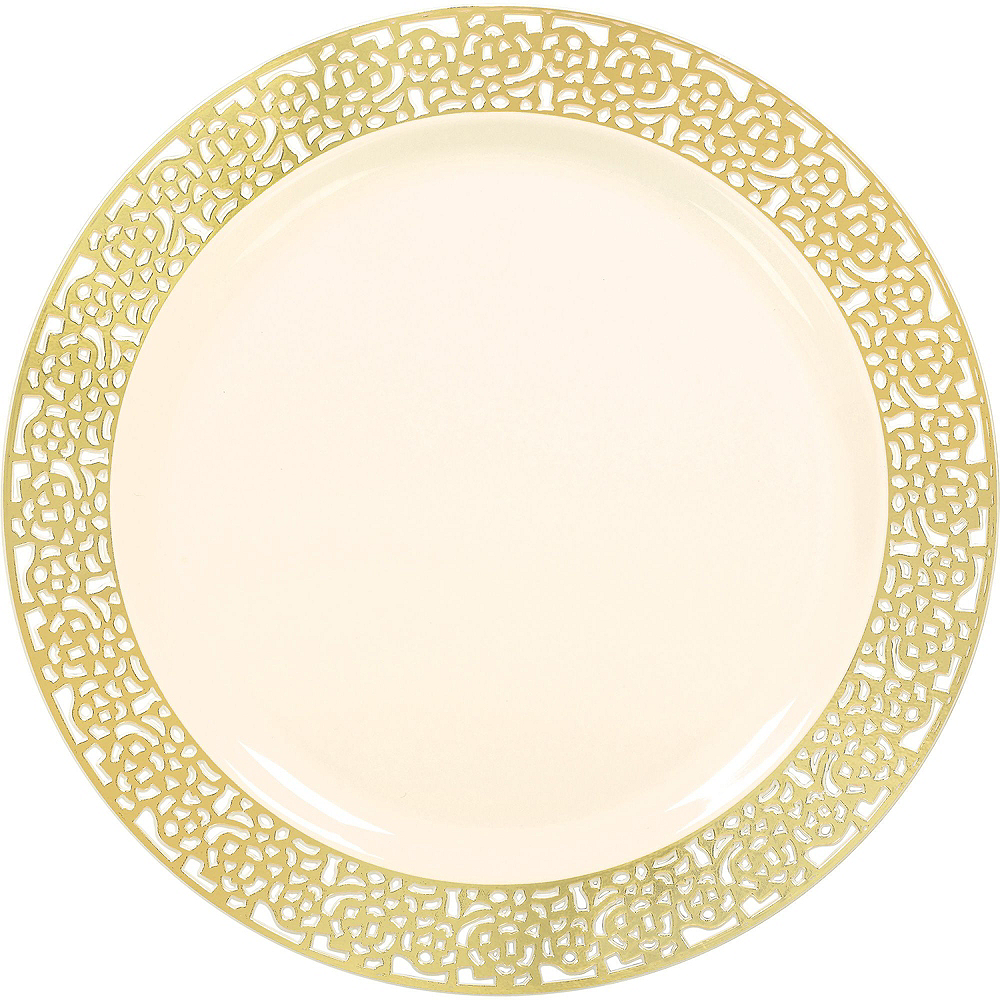Cream Gold Lace Premium Tableware Kit for 60 Guests Image #3