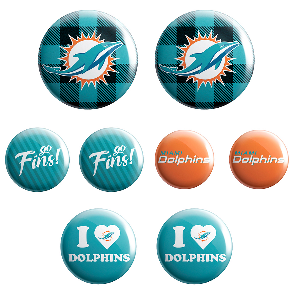 Miami Dolphins Buttons 8ct Image #1