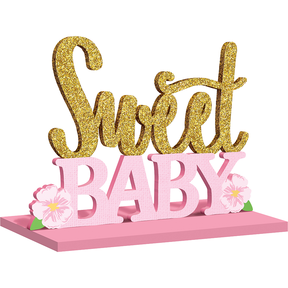 Glitter Sweet Baby Table Sign 11in X 8 1 2in Party City