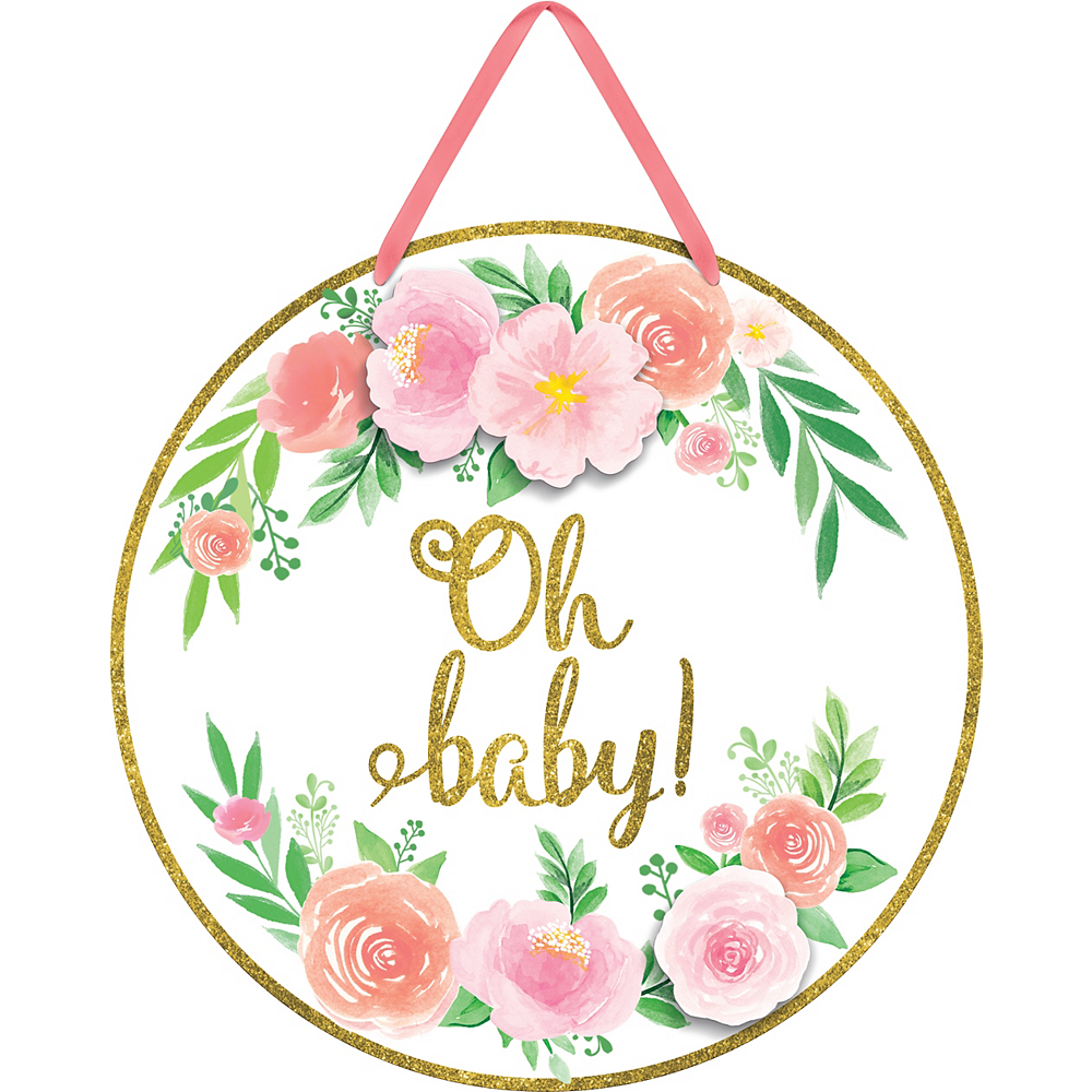 Glitter Floral Oh Baby Sign Image #1