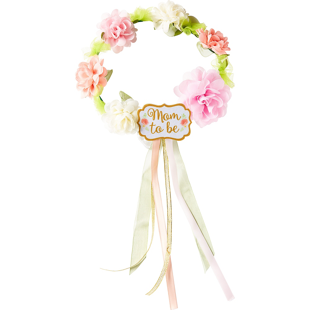 Floral Baby Shower Mom-to-Be Flower Crown Image #1