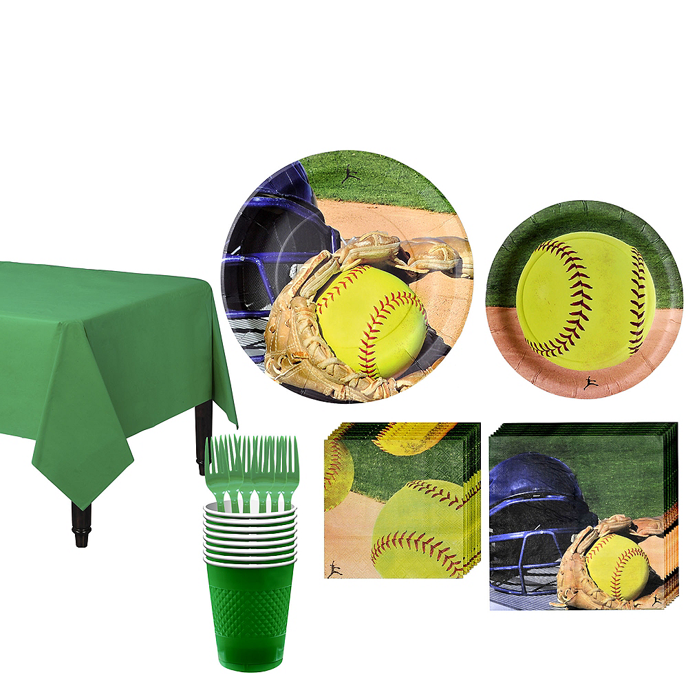 Softball Tableware Kit for 8 Guests Image #1