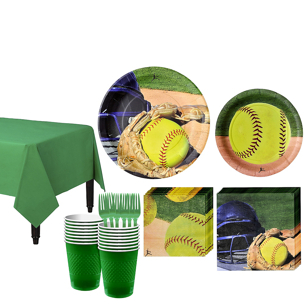 Softball Tableware Kit for 16 Guests Image #1