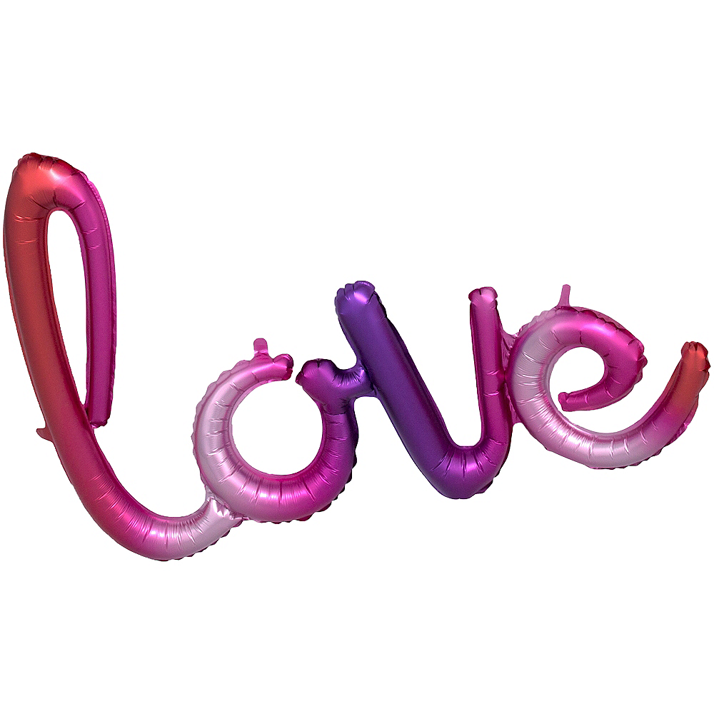 Air-Filled Pink & Purple Gradient Love Cursive Letter Balloon Banner Image #1