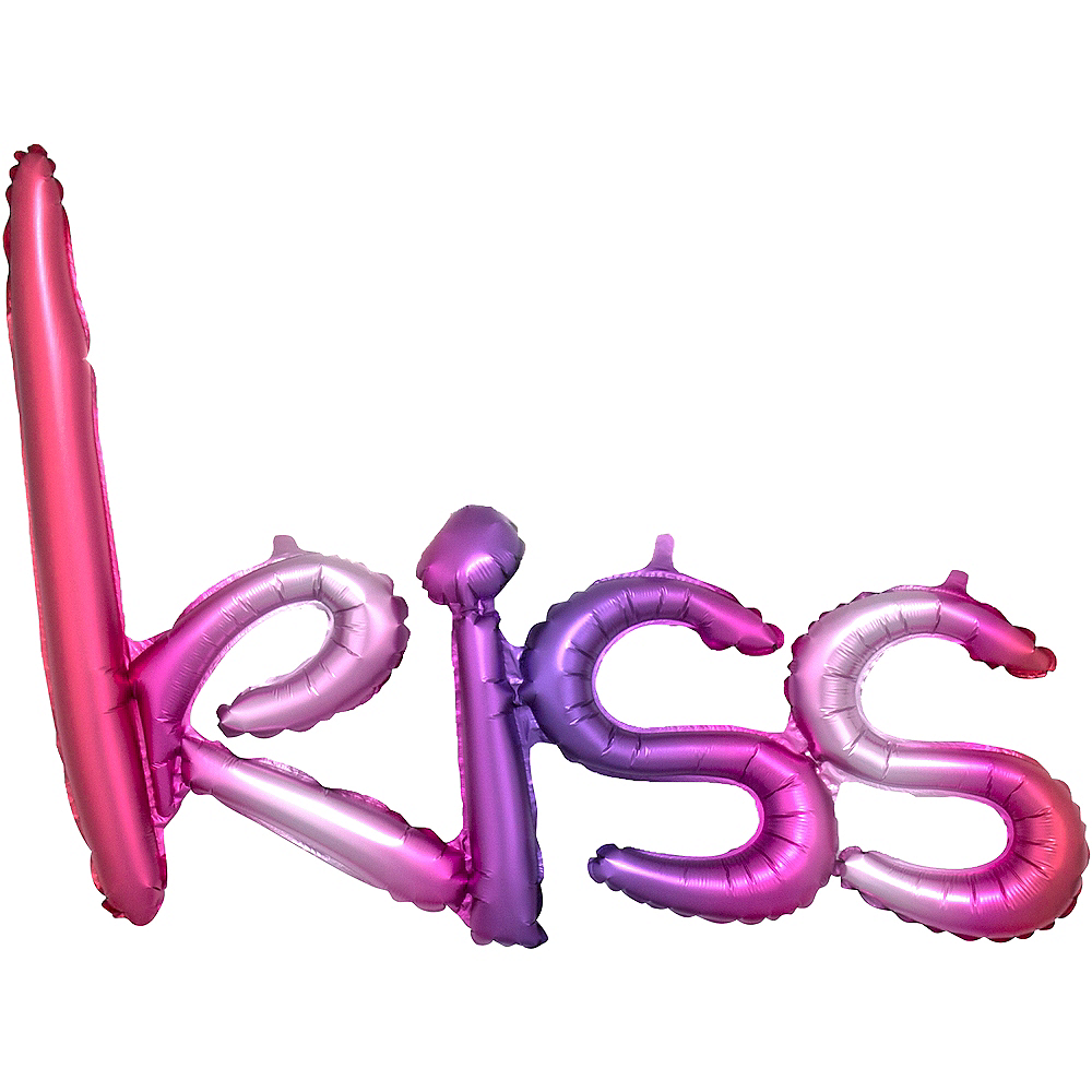Air-Filled Pink & Purple Gradient Kiss Cursive Letter Balloon Banner Image #1