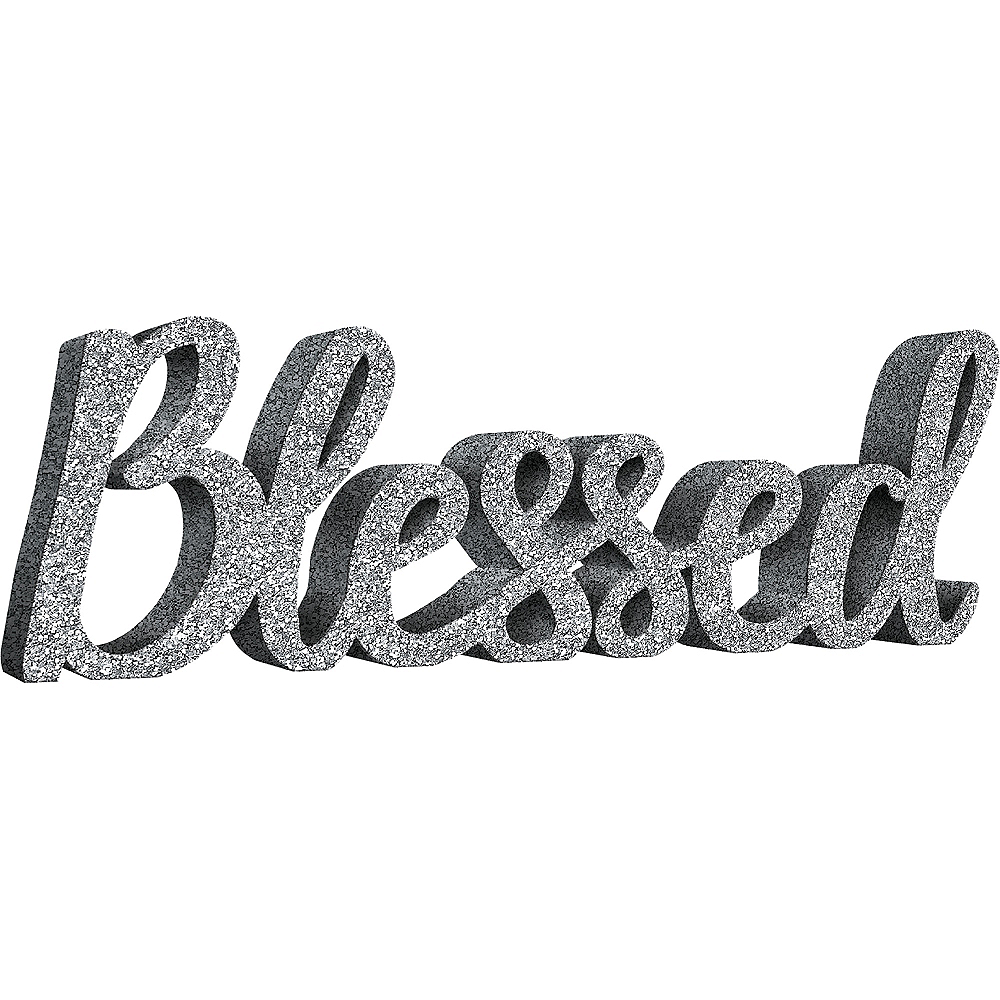 Glitter Silver Blessed Block Letter Sign Image #1