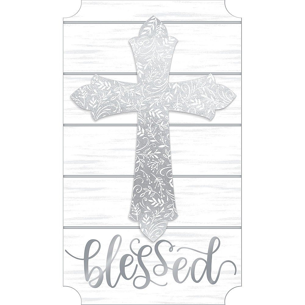 Glitter Silver Blessed Cross Easel Sign Image #1