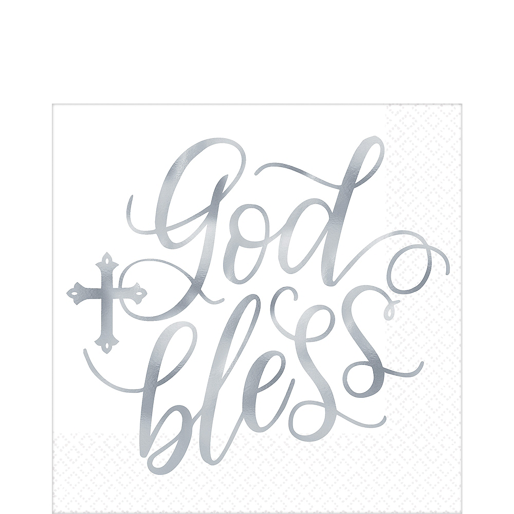 Metallic Silver God Bless Lunch Napkins 16ct Image #1