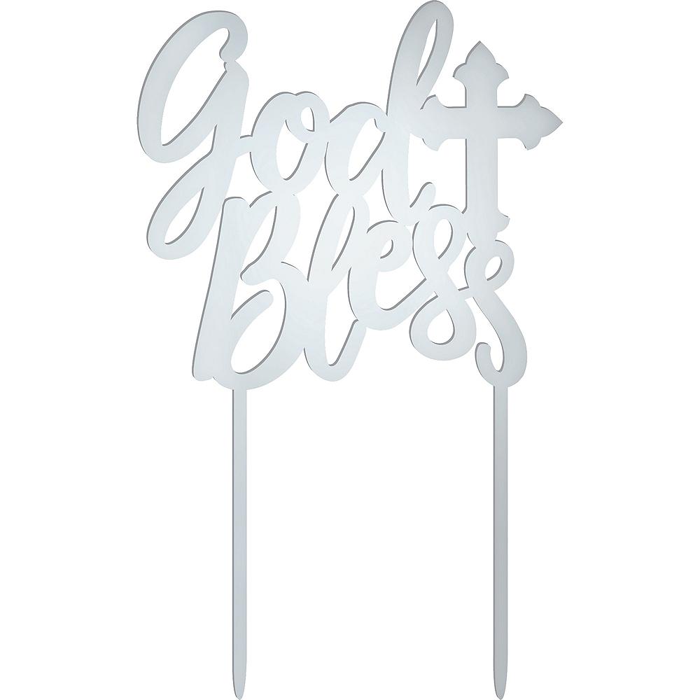 Metallic Silver God Bless Cake Topper Image #1
