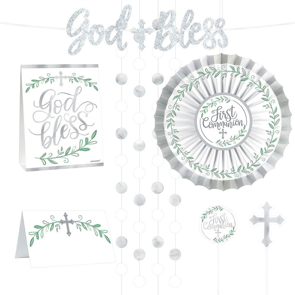 Silver & White First Communion Buffet Decorating Kit 23pc Image #1