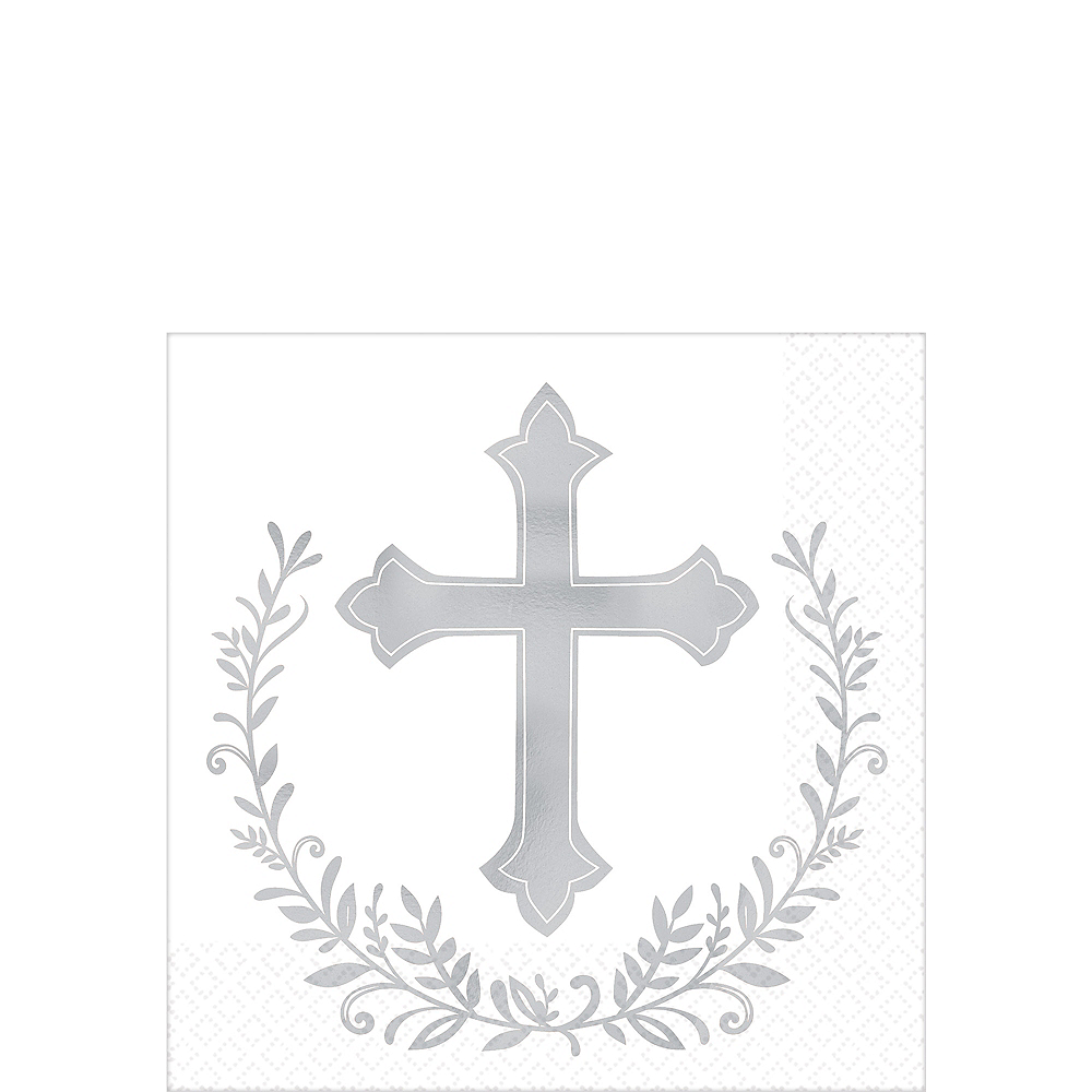 Metallic Silver Cross Beverage Napkins 16ct Image #1