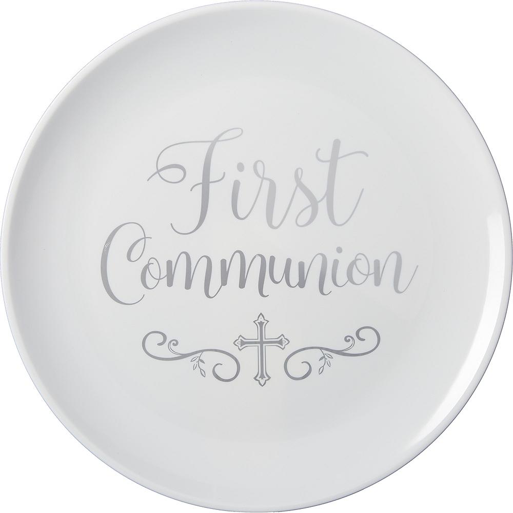 Silver First Communion Round Platter Image #1