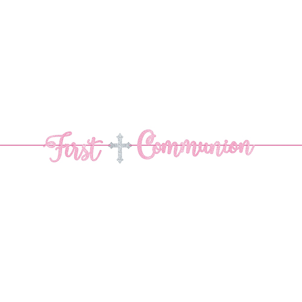 Glitter Pink First Communion Letter Banner Image #1
