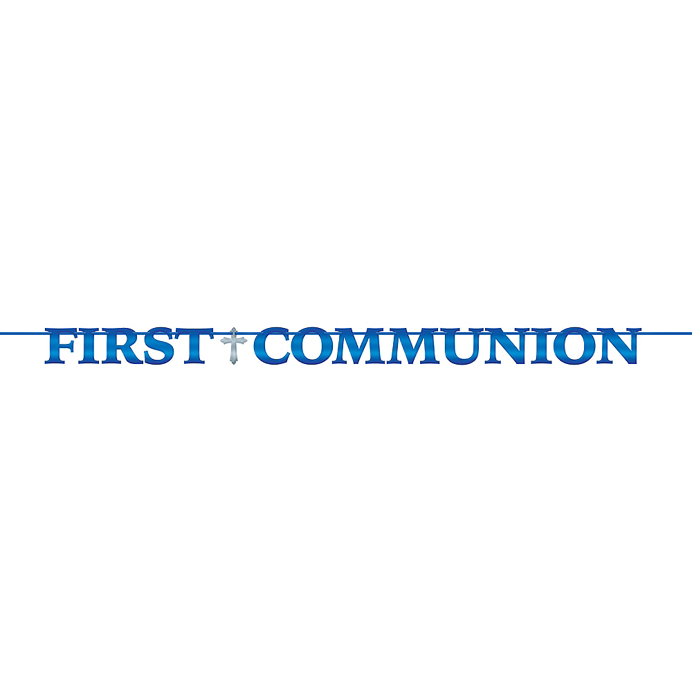 Metallic Blue First Communion Letter Banner Image #1