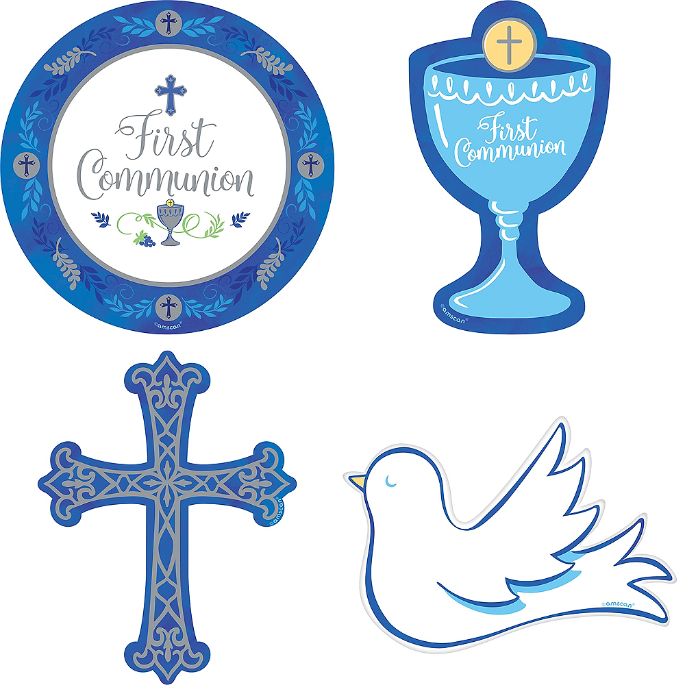 Blue & Silver First Communion Cutouts 12ct Image #1