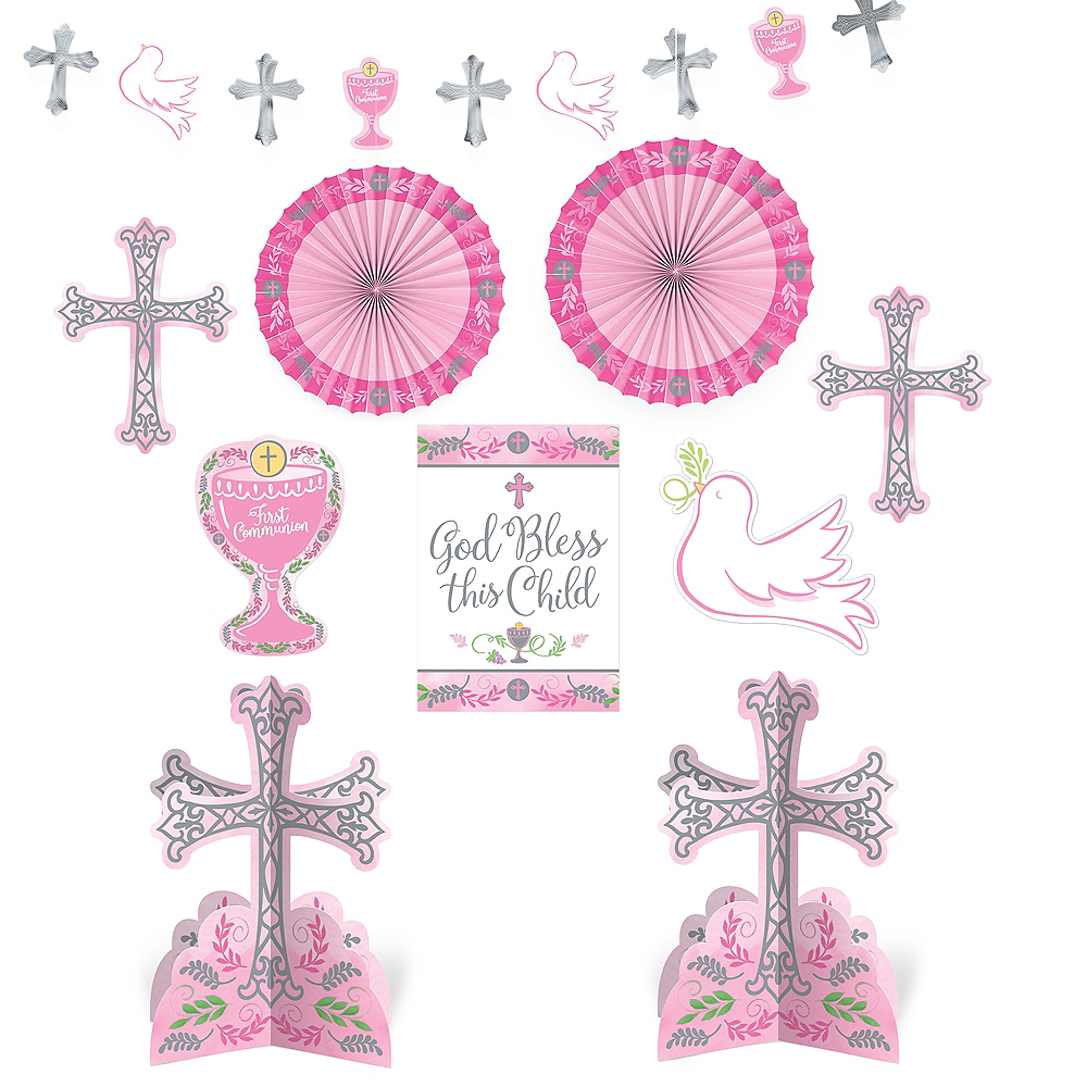 Pink First Communion Decorating Kit 10pc Image #1