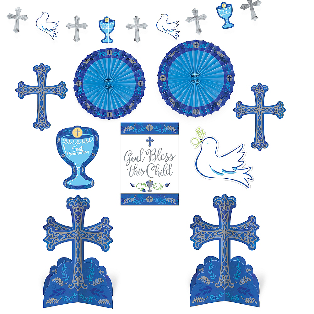 Blue First Communion Decorating Kit 10pc Image #1