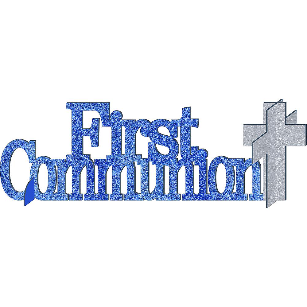 Glitter Blue First Communion Centerpiece Image #1