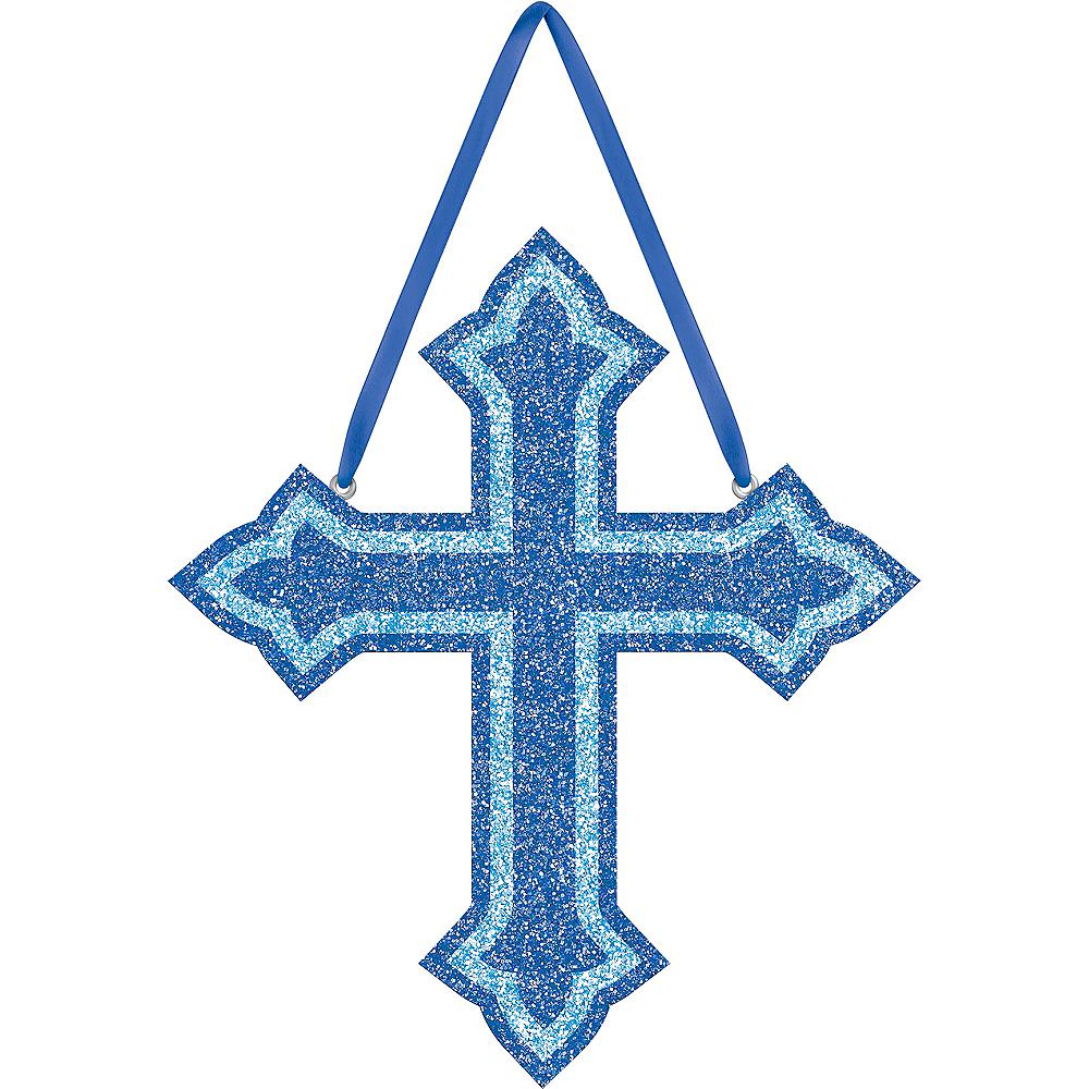 Glitter Blue Cross Sign Image #1