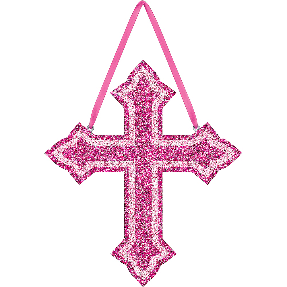Glitter Pink Cross Sign Image #1