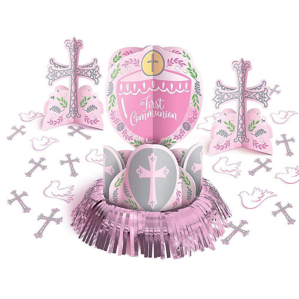 Pink First Communion Table Decorating Kit 23pc Image #1