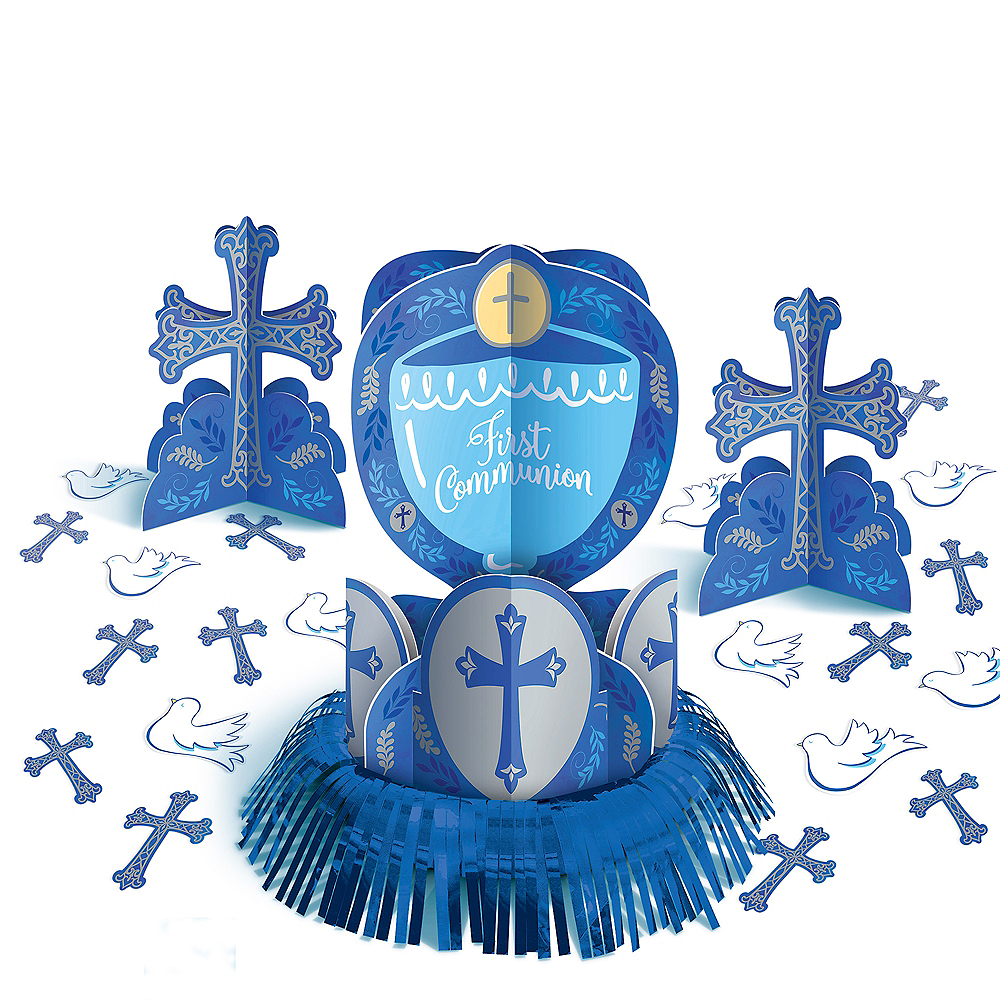 Blue First Communion Table Decorating Kit 23pc Image #1