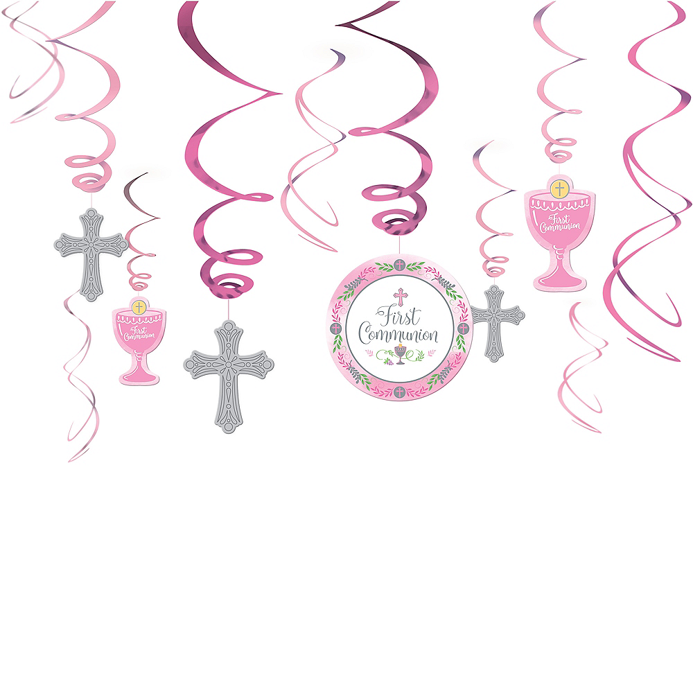 Pink First Communion Swirl Decorations 12ct Image #1