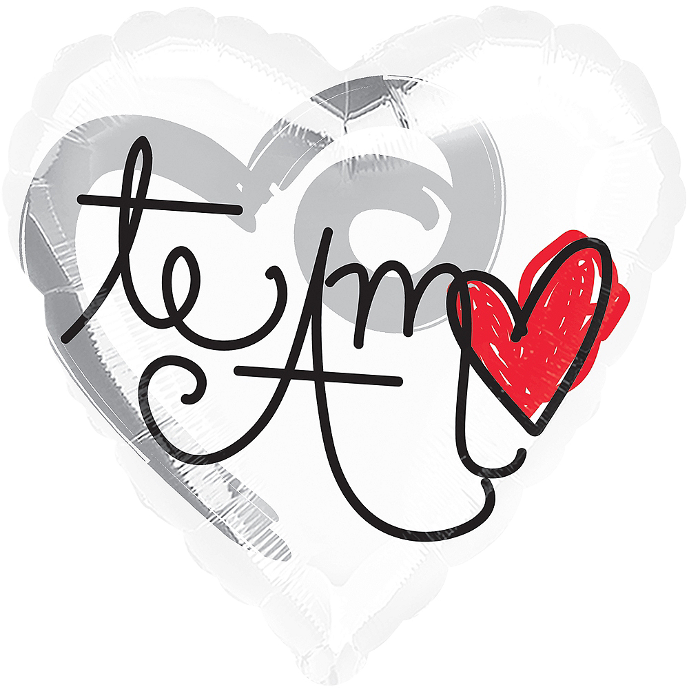 White Te Amo Heart Balloon Image #1