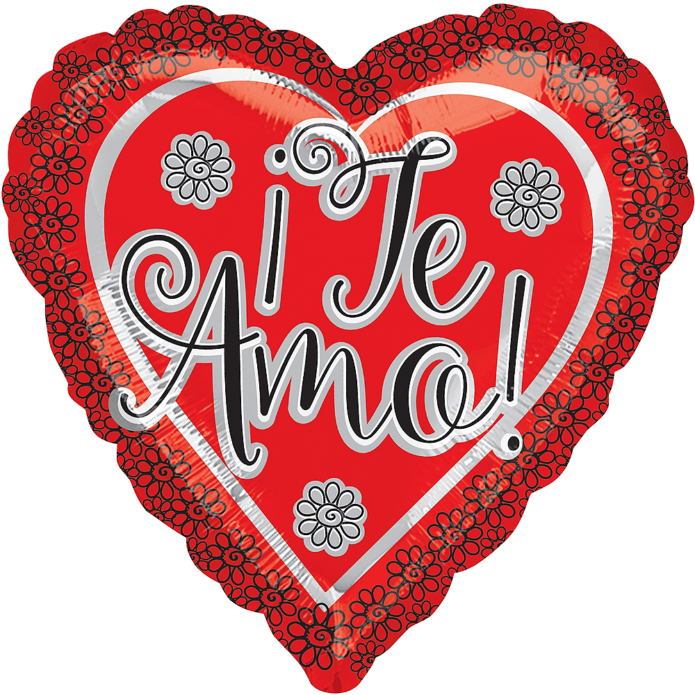 Nav Item for Red Te Amo Heart Balloon, 17in Image #1