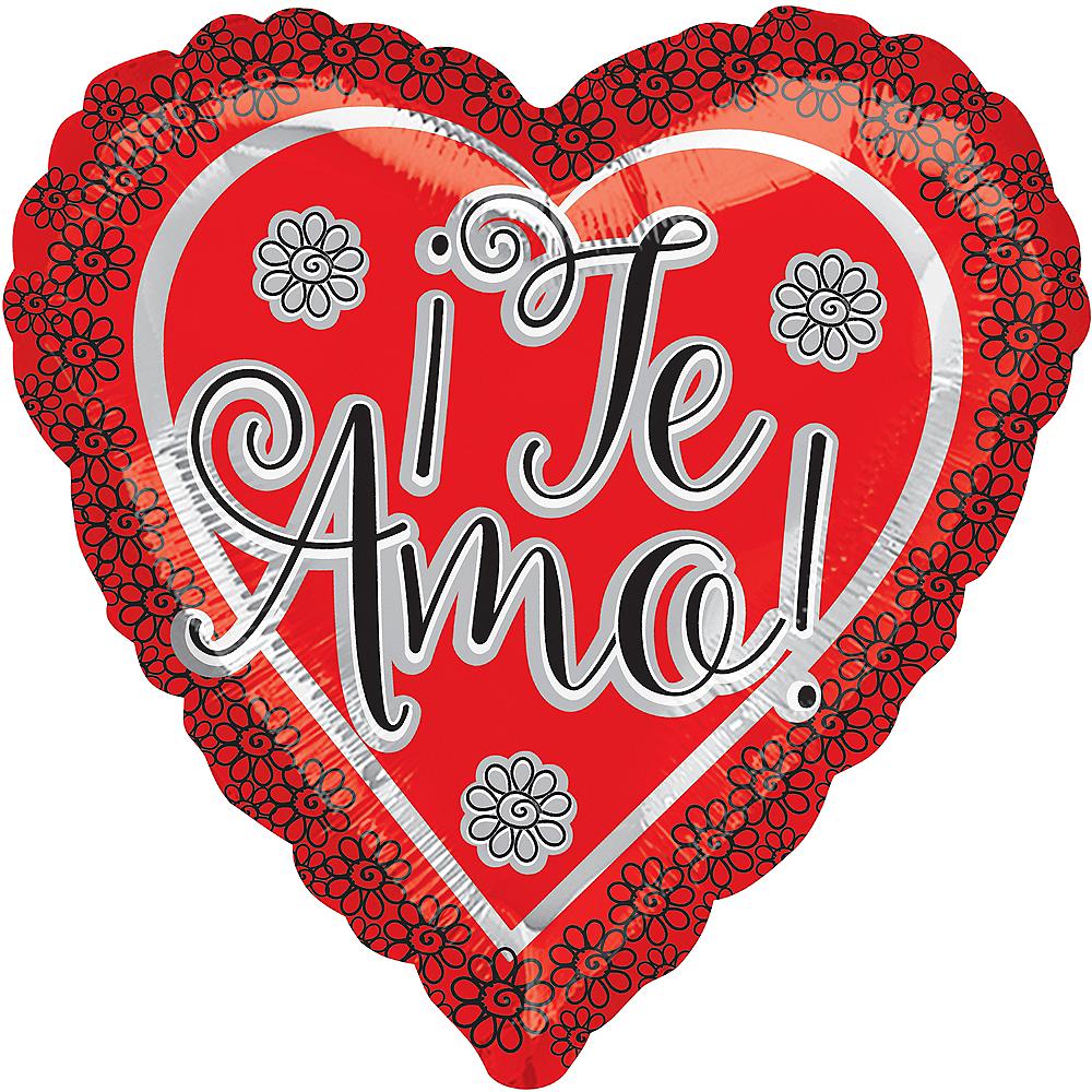 Red Te Amo Heart Balloon, 17in Image #1