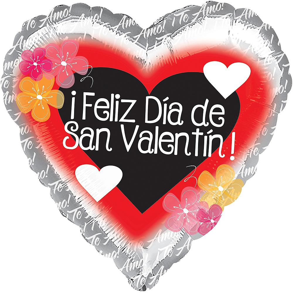 Silver Dia de San Valentin Heart Balloon Image #1
