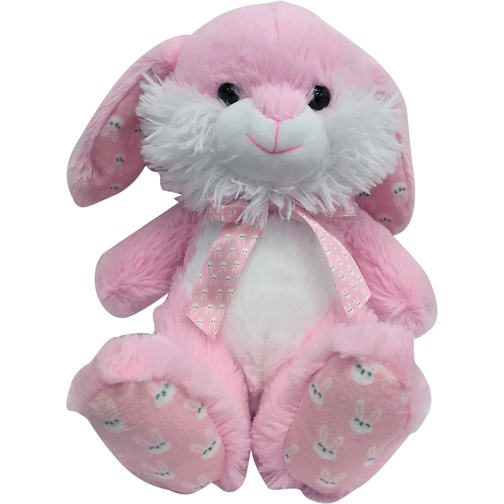 Pink & White Bow Easter Bunny Plush Image #1
