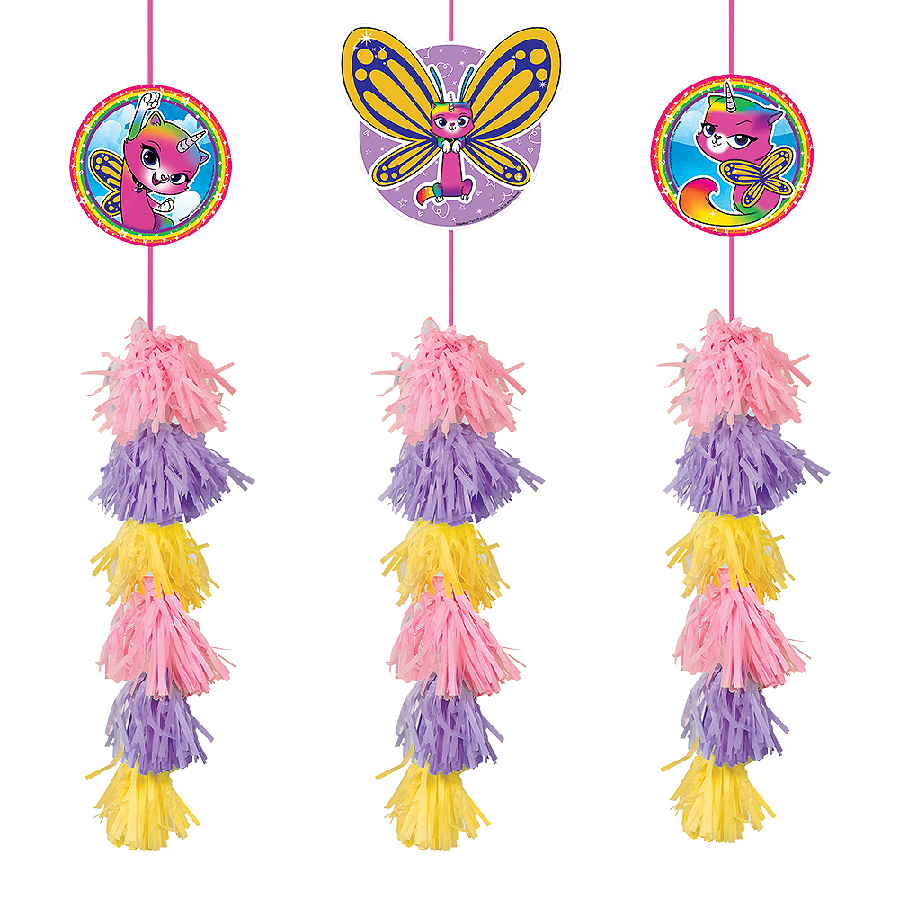 Rainbow Butterfly Unicorn Kitty Tassel Decorations 3ct Image #1