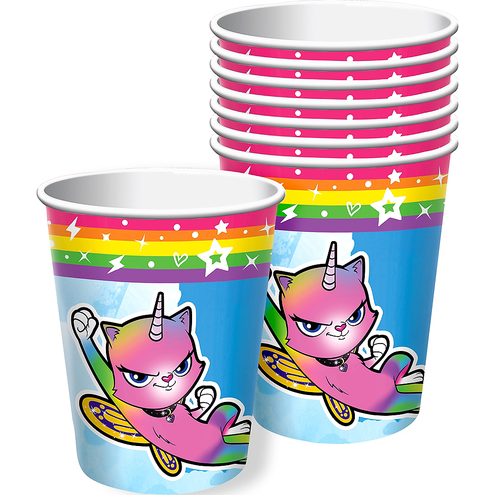 Rainbow Butterfly Unicorn Kitty Cups 8ct Image #1