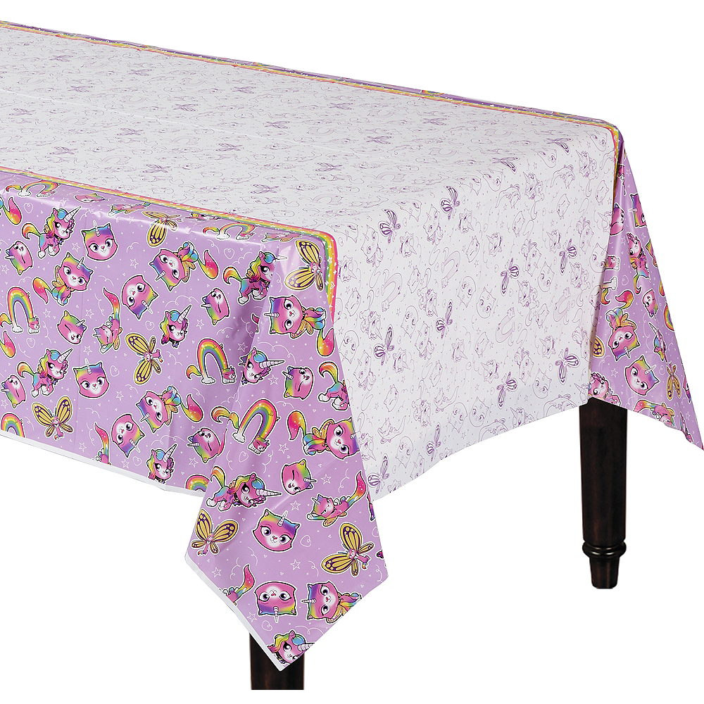 Rainbow Butterfly Unicorn Kitty Table Cover Image #1