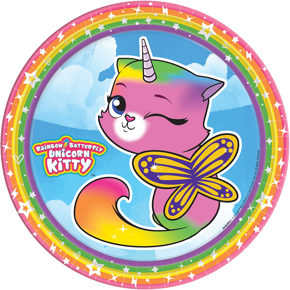 Rainbow Butterfly Unicorn Kitty Lunch Plates 8ct Image #1
