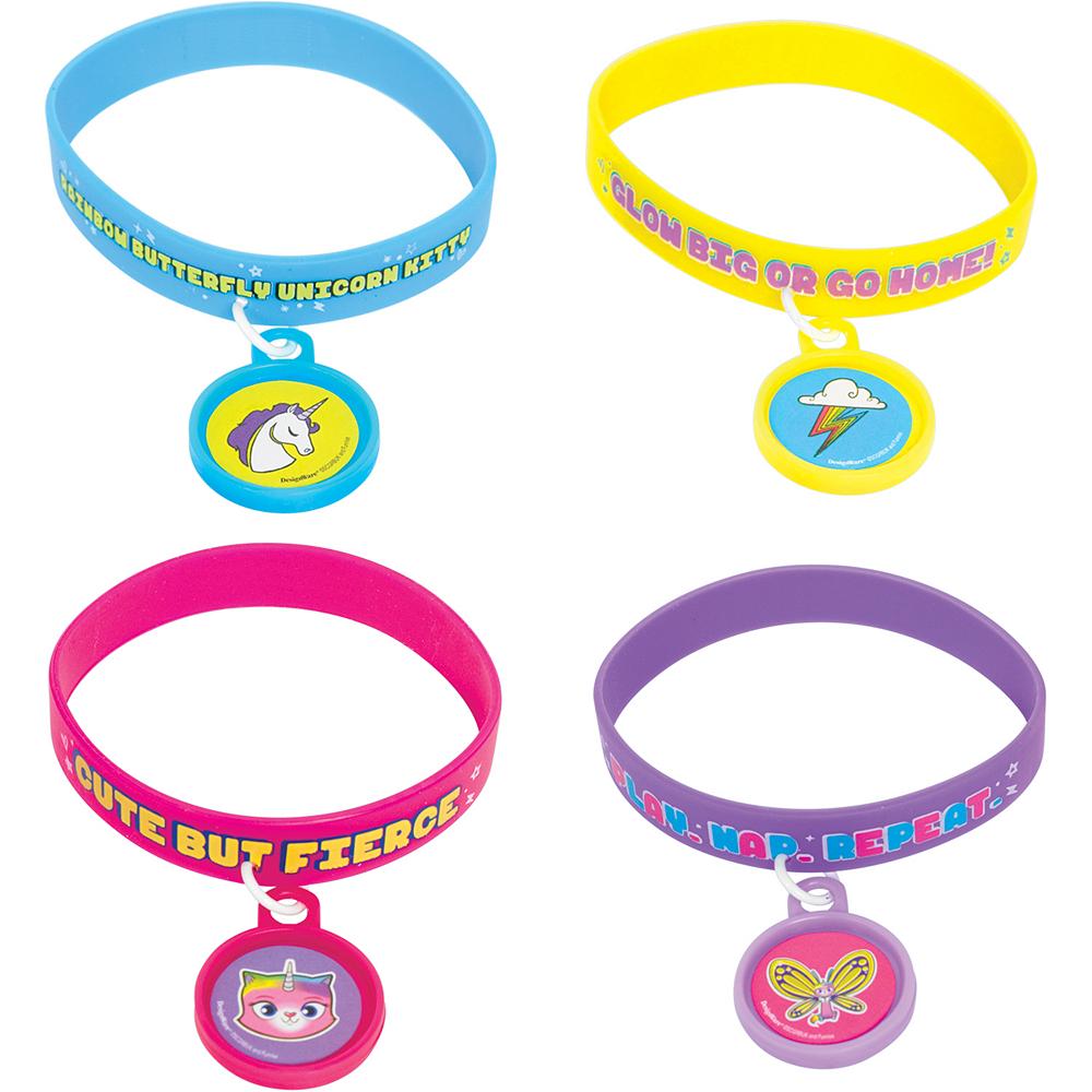 Rainbow Butterfly Unicorn Kitty Bracelets 4ct Image #1