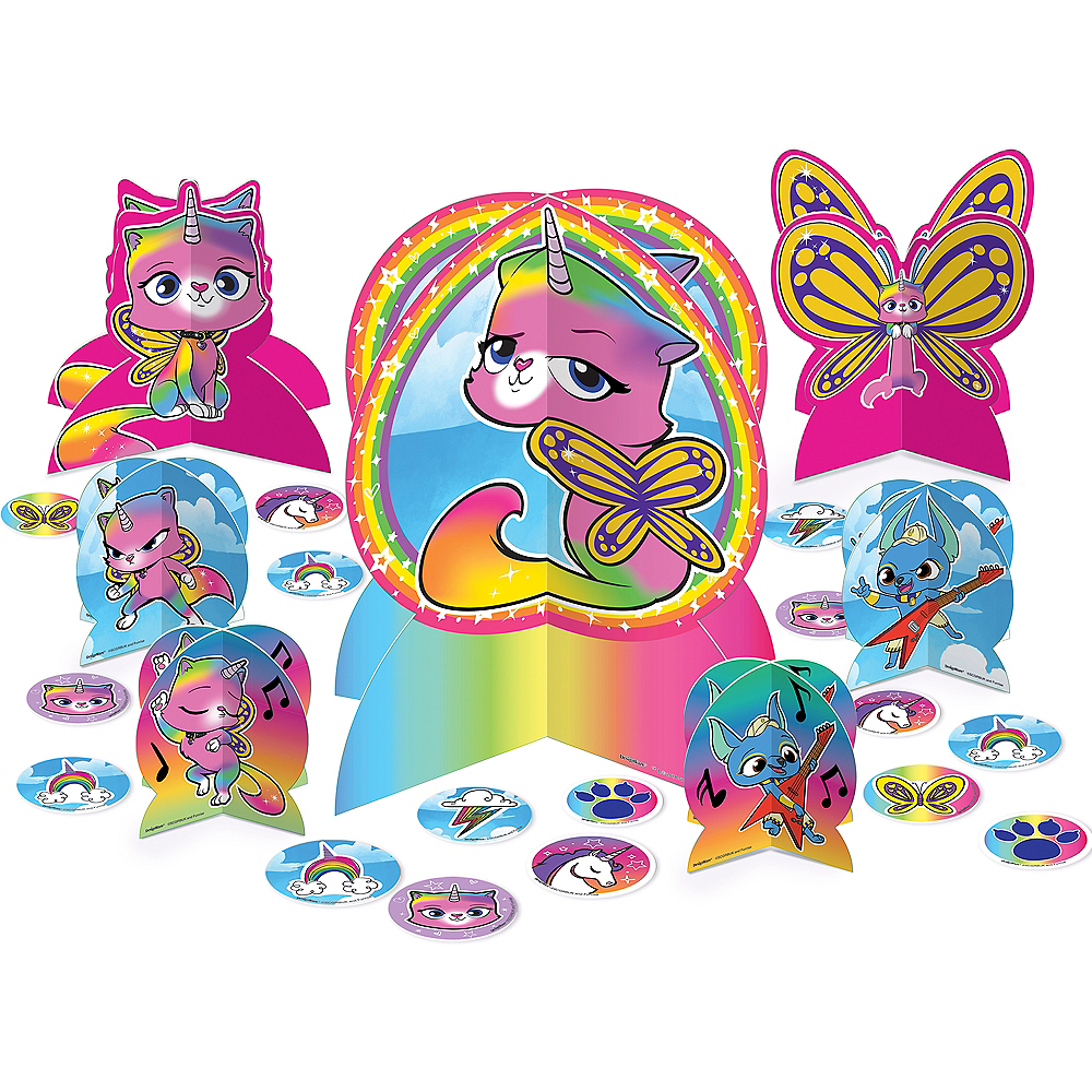 Rainbow Butterfly Unicorn Kitty Table Decorating Kit 31pc Image 1