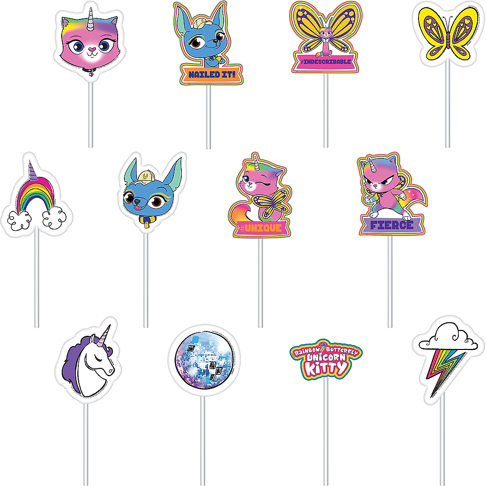 Rainbow Butterfly Unicorn Kitty Cake Toppers 12ct Image #1