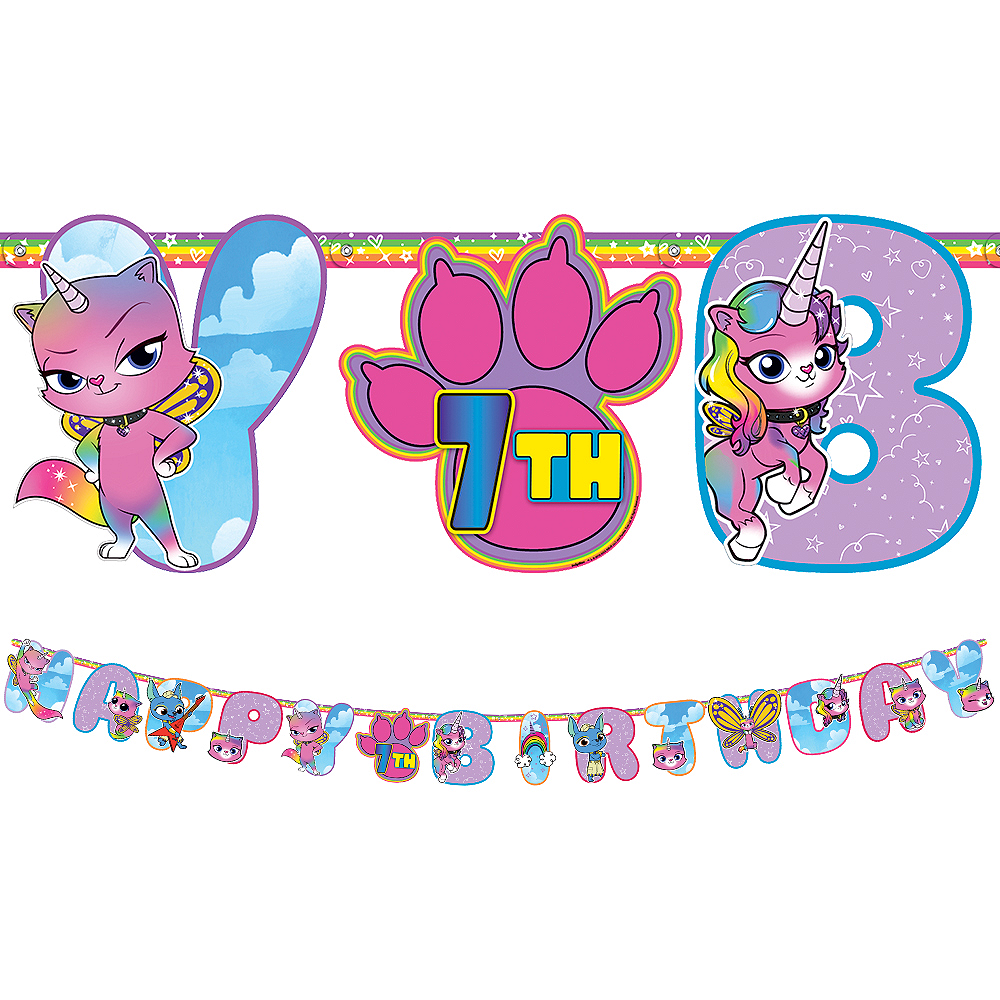 Rainbow Butterfly Unicorn Kitty Birthday Banner Kit Image #1