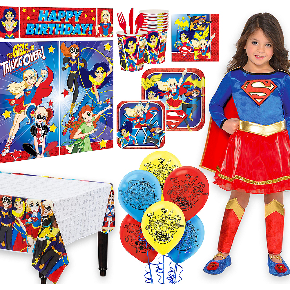 Warner Brothers DC Super Hero Girls Birthday Party Kit, Includes Supergirl Costume (3-4T), Tableware, Decor and Balloons, Serves 8 Image #1