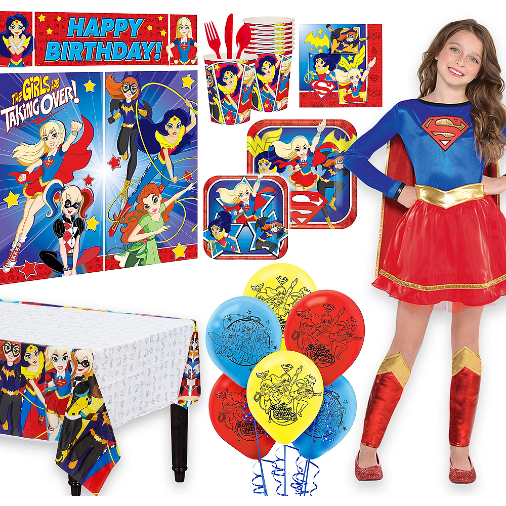 Warner Brothers DC Super Hero Girls Birthday Party Kit, Includes Supergirl Costume (8-10), Tableware, Decor and Balloons, Serves 8 Image #1