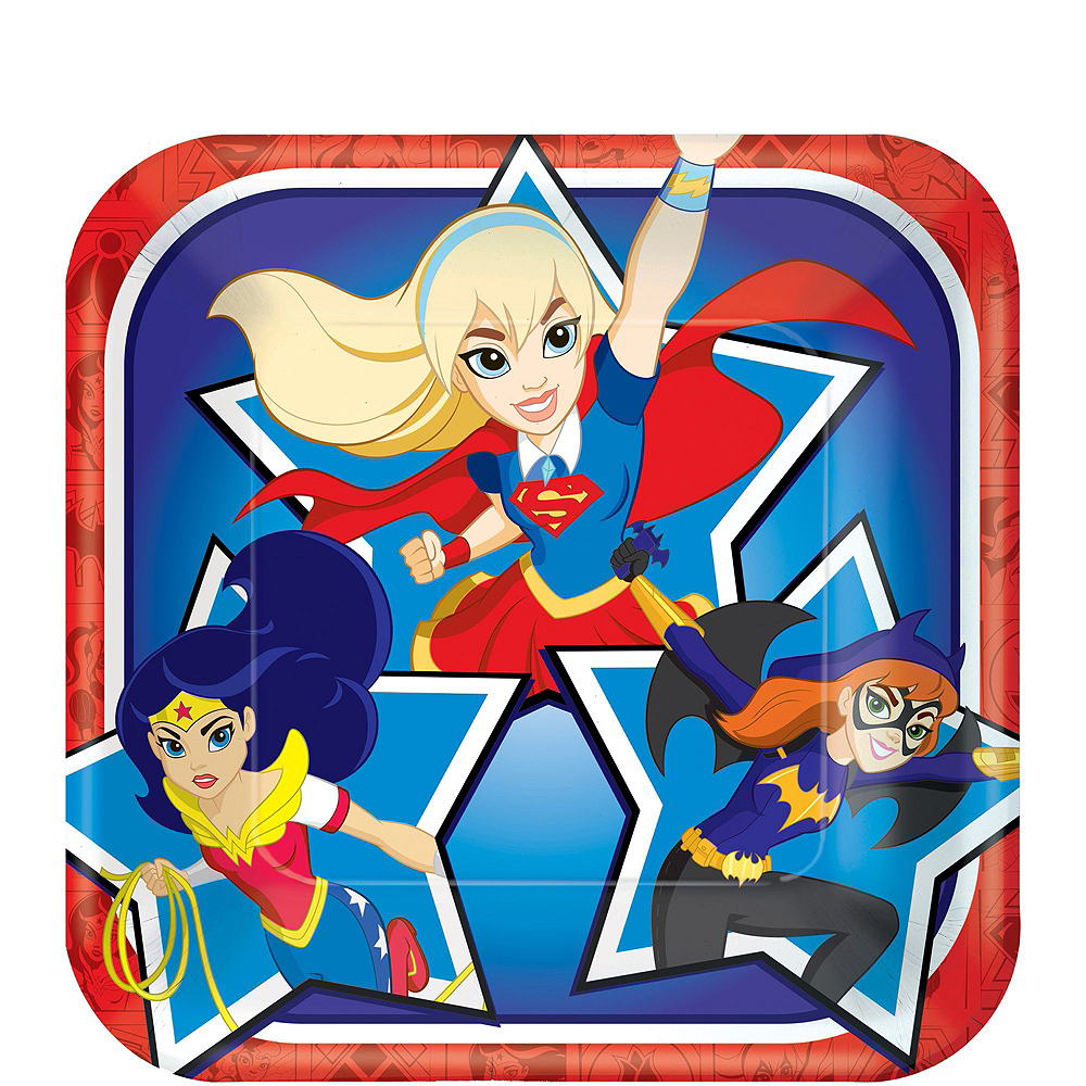 Warner Brothers DC Super Hero Girls Birthday Party Kit, Includes Supergirl Costume (8-10), Tableware, Decor and Balloons, Serves 8 Image #4