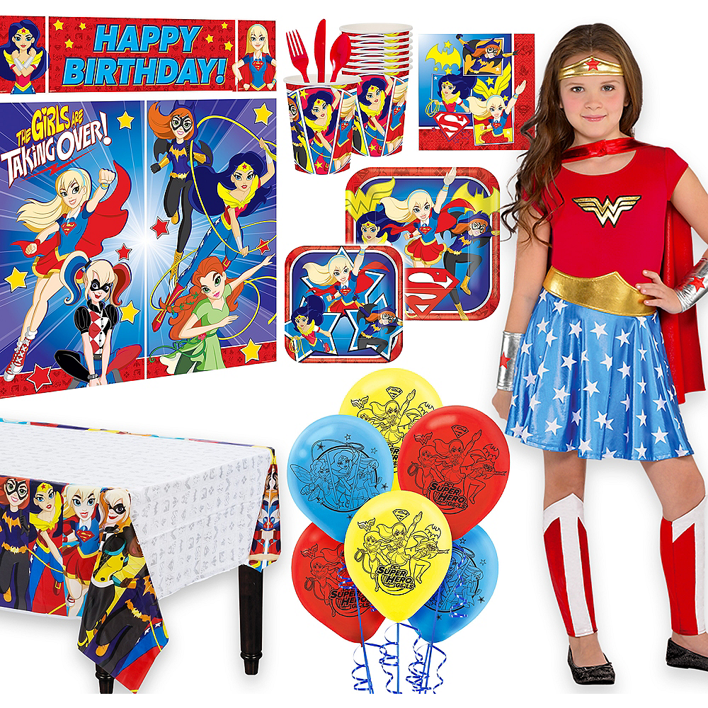 Warner Brothers DC Super Hero Girls Birthday Party Kit, Includes Wonder Woman Costume (8-10), Tableware, Decor and Balloons, Serves 8 Image #1