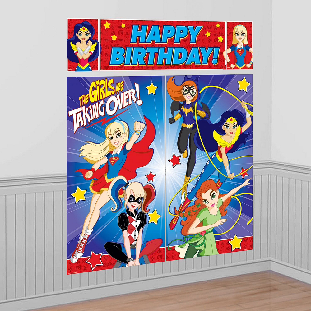 Warner Brothers DC Super Hero Girls Birthday Party Kit, Includes Wonder Woman Costume (8-10), Tableware, Decor and Balloons, Serves 8 Image #9