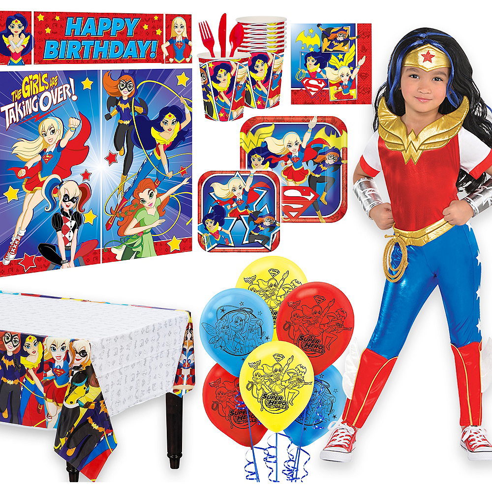 Warner Brothers DC Super Hero Girls Wonder Woman Birthday Party Kit, Includes Jumpsuit Costume (4-6), Tableware, Decor and Balloons, Serves 8 Image #1